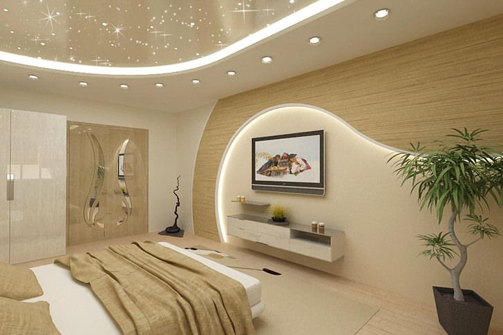 Утром и днем светлая, уютная,презентабельная.., вечером завораживающая, романтическая. Современные материалы, современный стиль. Натяжной потолок выполнен с использованием 3D перфорации.