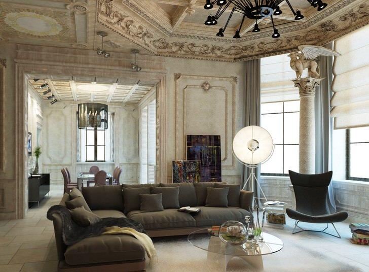 """Отделка гостевой комнаты """"под старину"""" гармонично сочетается с современной мебелью и хорошо подобранным освещением."""