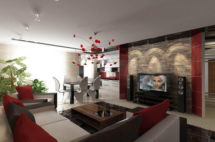 Узнаваемые линии мебели в стиле хай-тек для просторной гостиной с нотками цветов итальянского стиля.