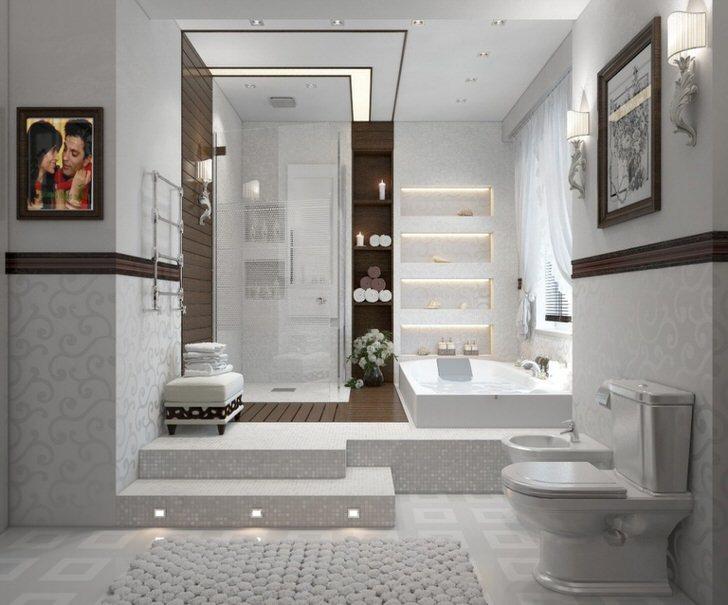 По всем канонам практичная, функциональная ванная комната с душевой кабиной и ванной.