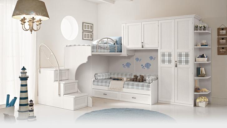 Пример грамотно подобранной мебели для детской комнаты в стиле хай-тек на двоих детей.