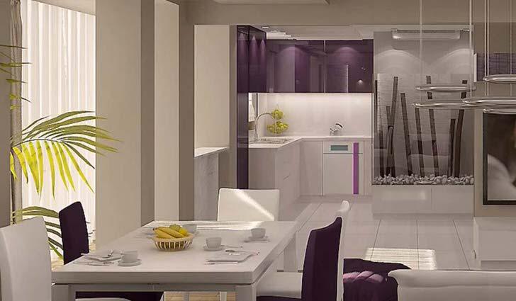 Интерьер кухни в современном загородном доме. Рабочая зона далеко на втором плане.