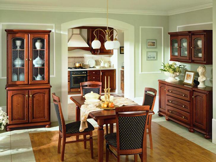 Удивительная гармония и сдержанность в интерьере столовой. Изящная мебель из морёного дуба.