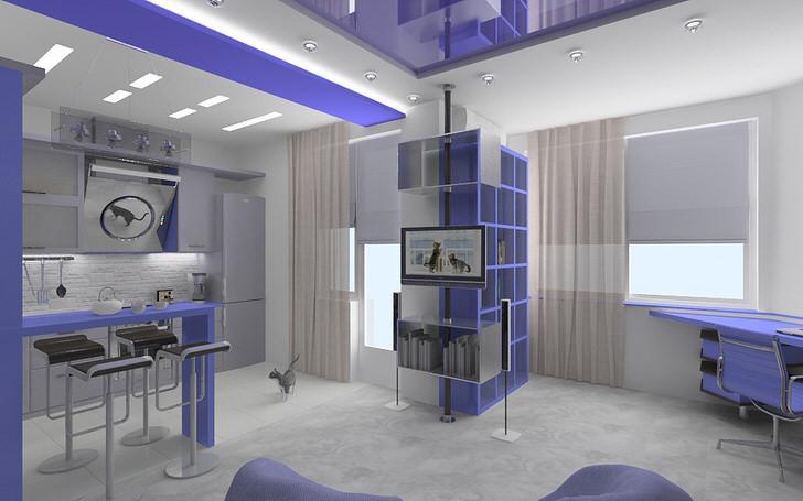 Просторная квартира-студия в стиле хай тек. Ощущение пространства, сочетание лаконичных линий и цветов. Настоящая квартира-студия только в современных стилях.