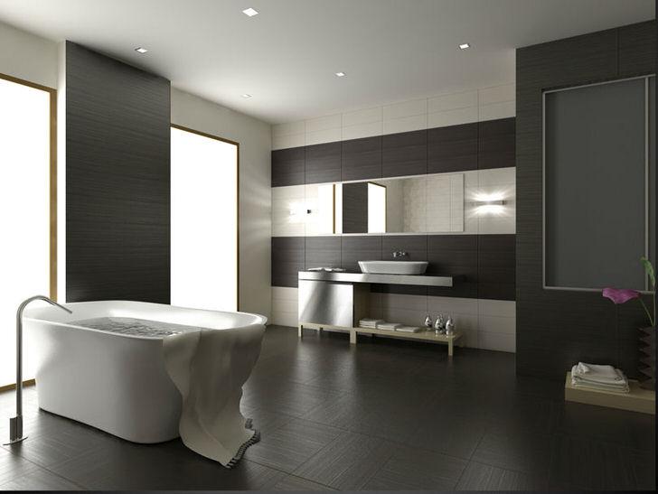 Лаконичный интерьер ванной комнаты в большой квартире.