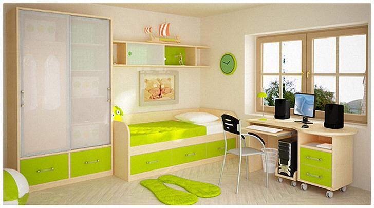 Детская комната в стиле хай-тек. В соответствии со стилем мебель оснащена большим количеством ящичков и полочек. Практичное решение для любой детской.