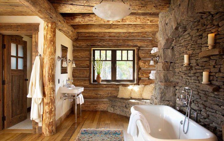 Дизайнерский проект ванной комнаты в бревенчатом доме.
