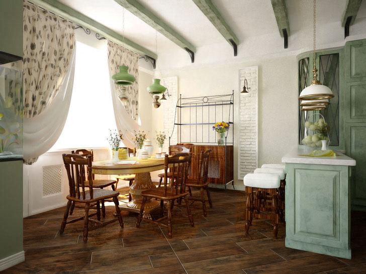 Обеденная зона в стиле кантри в городской квартире где-то на юге Франции.