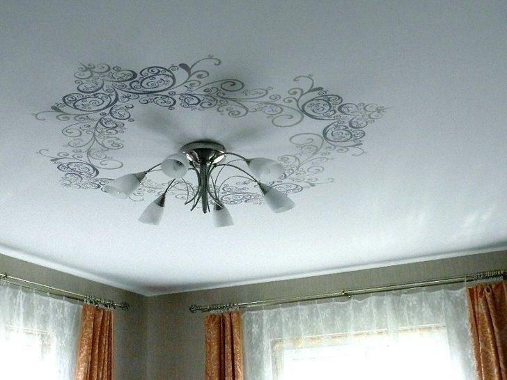Фактура полотна ткани идеально эмитирует потолок с безупречной, ровной отделкой штукатуркой.