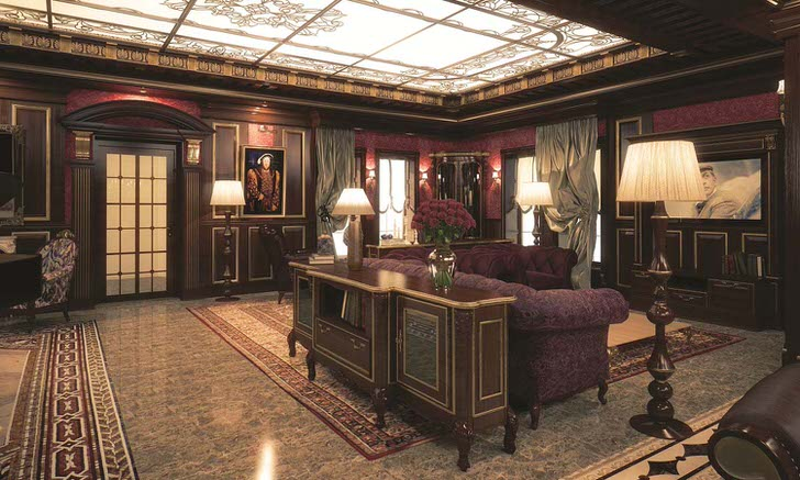 Просторная гостиная в викторианском стиле элитного клуба сохраняющие английские традиции.