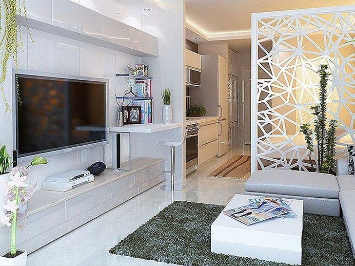 Оригинальный дизайнерский проект на 30 метрах для молодой семьи.