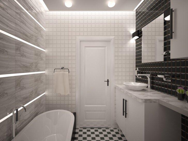 Так выглядит ванная комната хай тек на маленькой площади.