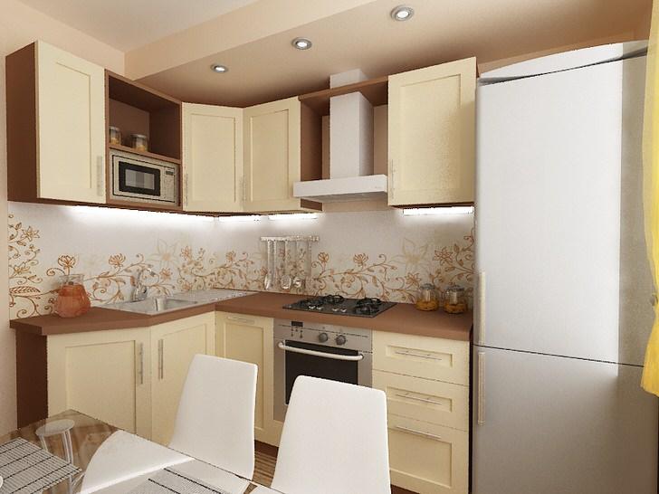 Дизайн кухни с холодильником под окном