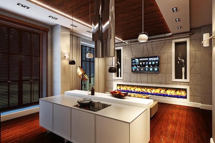 Так смотрится биокамин-дорожка в интерьере просторной кухни в стиле хай тек.