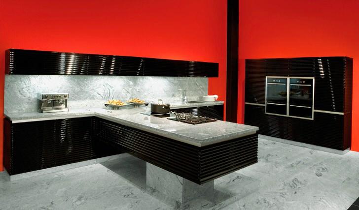 Мебель и бытовая техника для кухни в стиле хай тек.