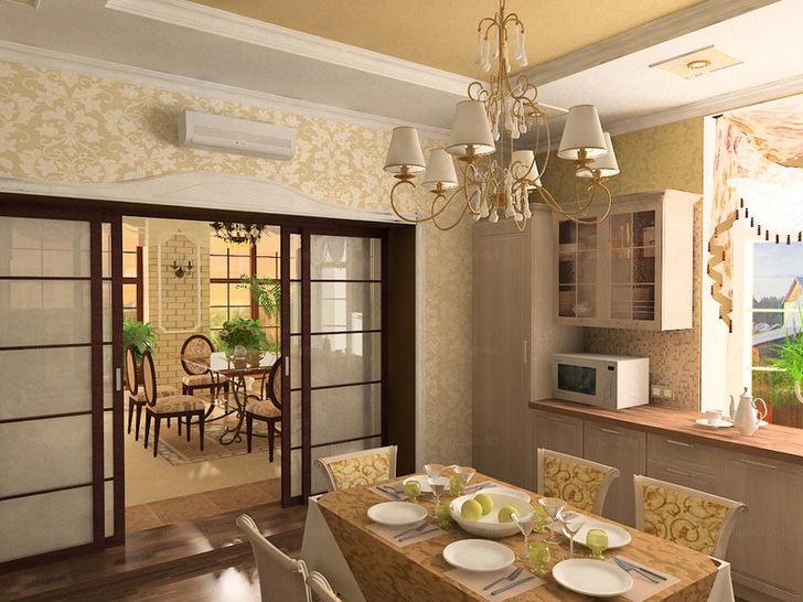Вариант кухни-студии для большого загородного дома в стиле модерн.