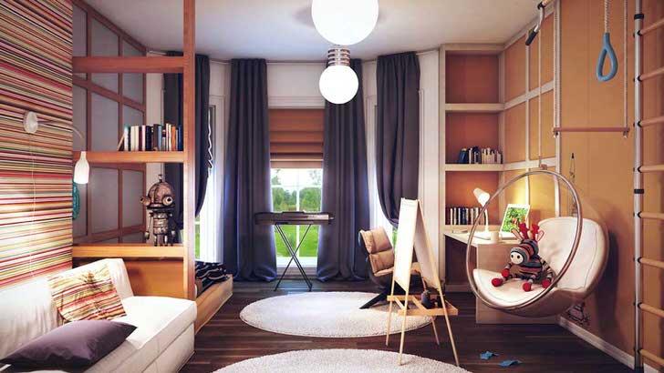 Комната для серьёзного мальчика музыканта с элементами стиля кантри.