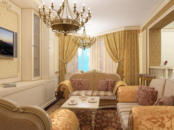 Современный стиль барокко: изогнутая салонная мебель, габелен с золотым шитьём, массивные позолочёные люстры.