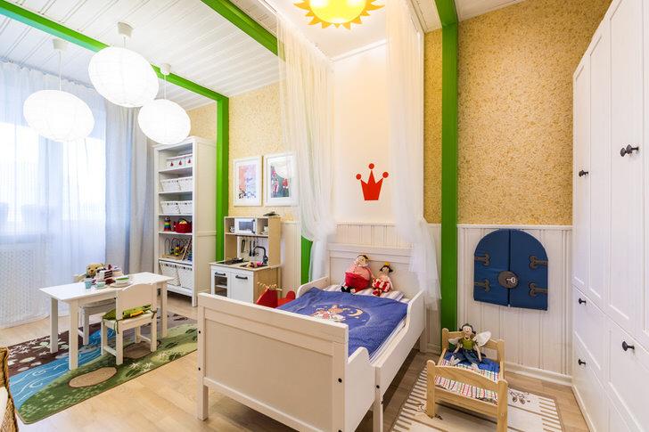 Скандинавский стиль кантри детской комнаты.