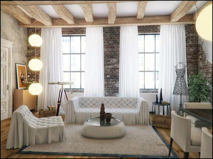 Только в стиле лофт можно сочетать несочетаемое. Изумительная противоположенность грубого окружения стен и потолка, и нежный цвет и формы мебели и штор.