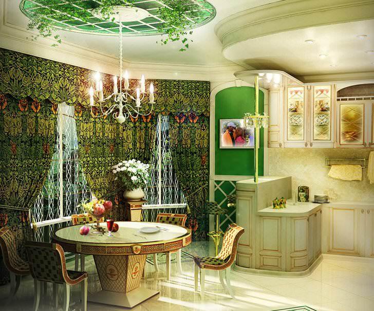 Уголок гостиной загородного дома с узнаваемыми чертами стиля барокко.