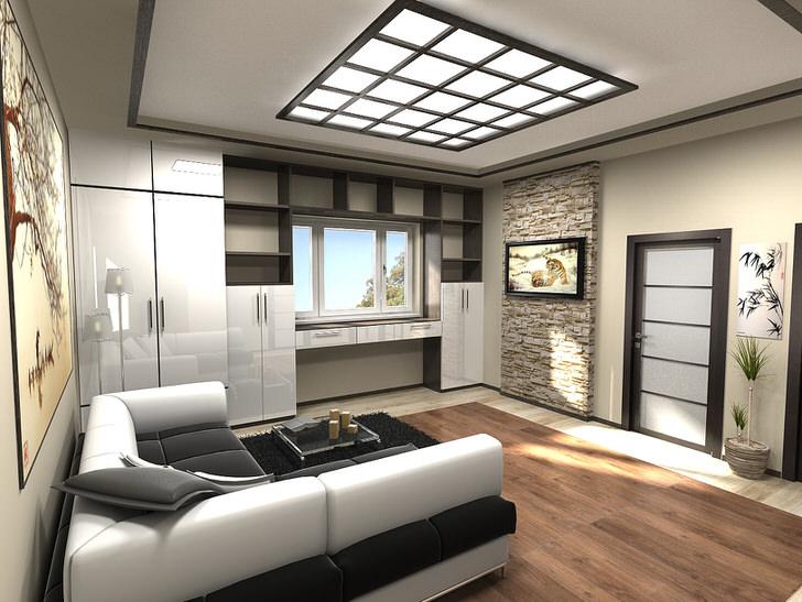 """Интересный интерьер комнаты в совренном стиле. Непривычный цвет мебели-""""металик"""" подчёркивает стиль хай тек."""