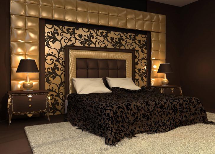 Изюминкой дизайнерского решения стала спинка у изголовья кровати и стена, оббитые мягкой тканью. Орнаменты на покрывале перекликаются с орнаментами на настенном панно.
