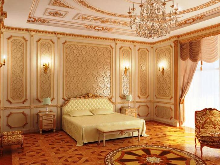 Золотые узоры отлично вписываются в общую композицию стиля барокко. Стильная спальня для семейной пары.