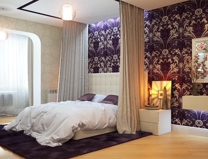 Балдахин, монтированный в потолок, отлично сочетается со строгой кроватью в стиле модерн.