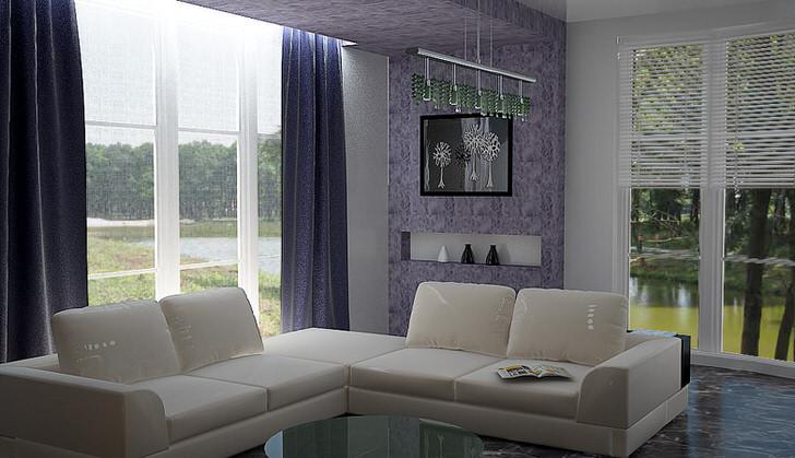 Для загородного дома непременным дополнением к интерьеру гостиной является вид из окна. Настоящий хай тек-всегда просторные окна от пола до потолка.