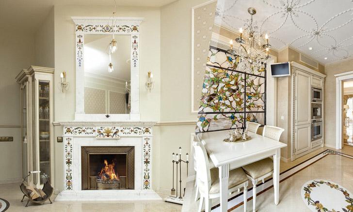 Мраморный камин и интерьер гостиной как одно целое-прекрасное дизайнерское решение.