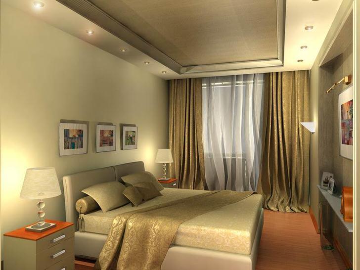 Светло-бежевая спальня в стиле хай-тек выглядит просторной за счет грамотно подобранного освещения.