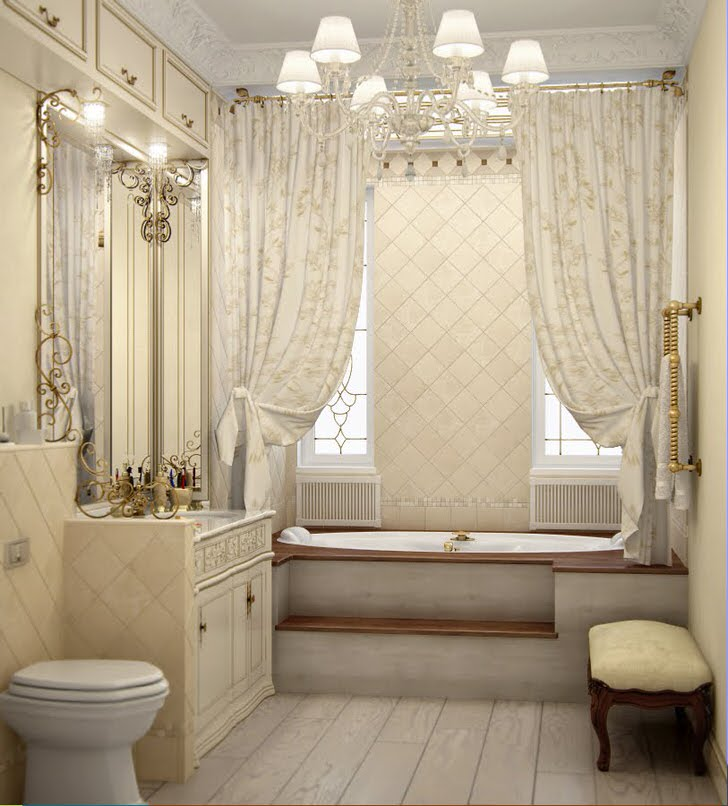 Уютная ванная в стиле барокко. От современного унитаза никуда не деться, во времена королей были ночные вазы.