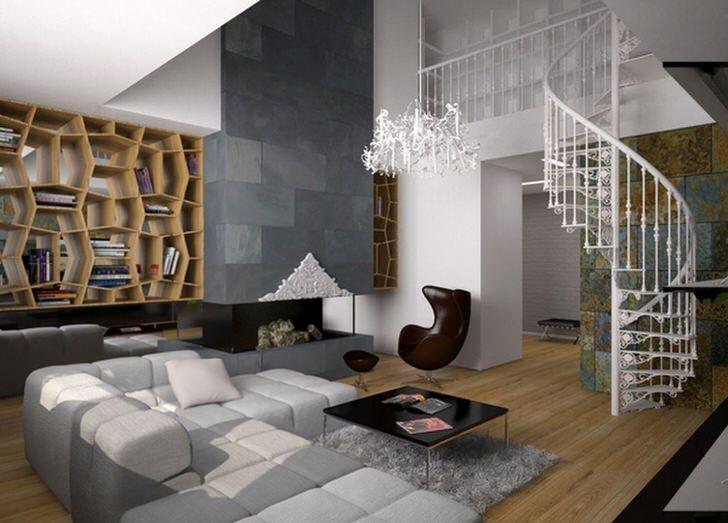 Украшение гостиной-воздушная лестница в стиле модерн.