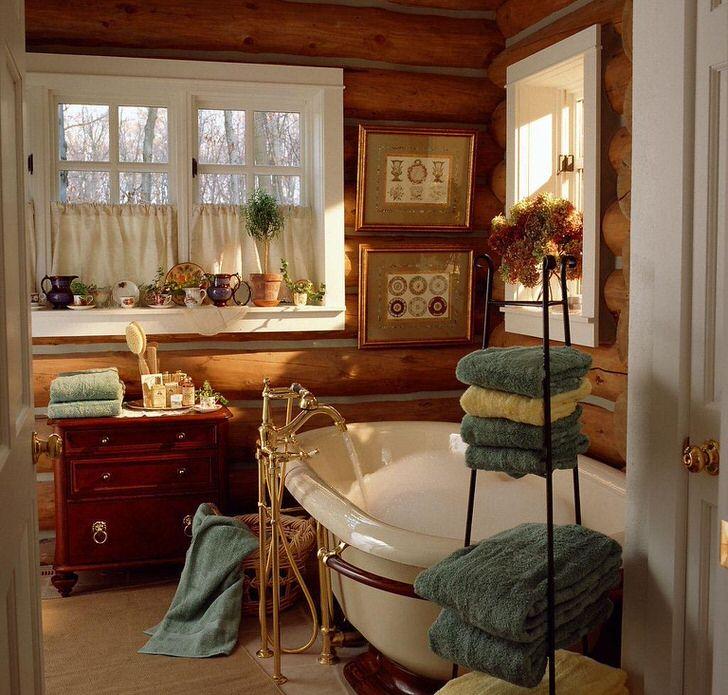 Ну очень приветливая, небольшая ванная комната в финской деревне.