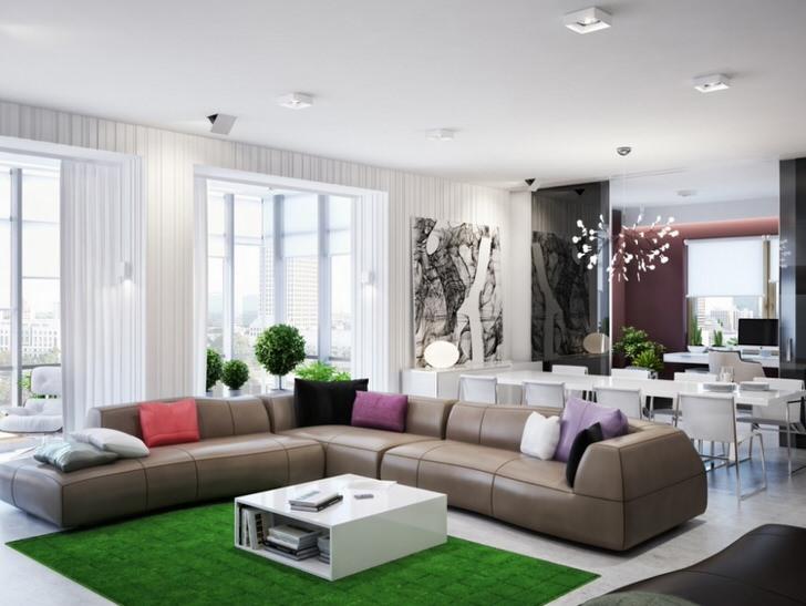 Уютный диван в стиле модерн для зоны отдыха просторной, светлой гостиной.