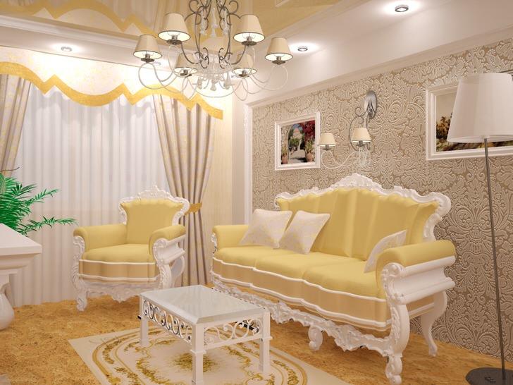 Небольшая гостевая комната в стиле барокко.Изысканная обстановка. Мебель подобрана в лучших традициях барокко стиля.