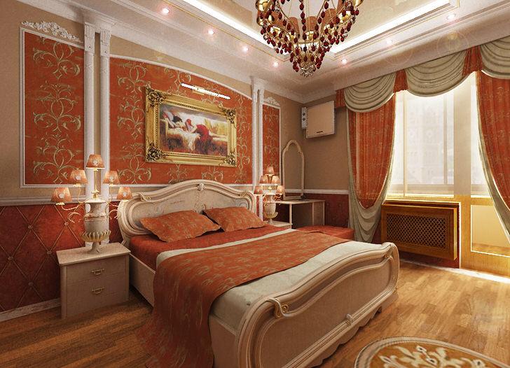 Спальня в стиле ампир для молодой леди. Яркий коралловый цвет в сочетании с золотым узором делает дизайн по-настоящему эксклюзивным и стильным.