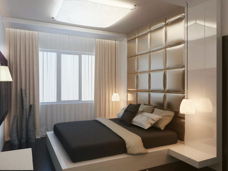 Дизайнерский проект спальни в квартире привычной многоэтажки Подмосковья.