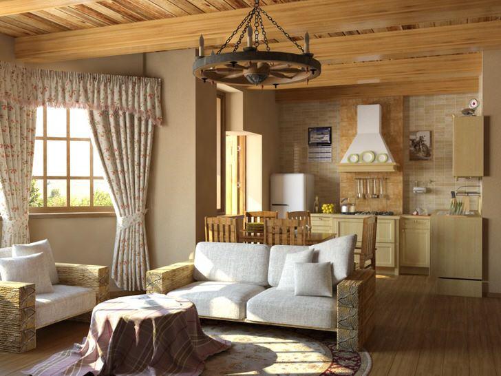 Современная гостиная в скандинавском стиле кантри.