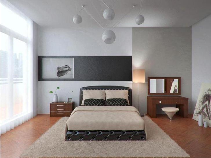 Светлая спальная комната в стиле хай-тек в городской квартире. Интересный дизайн люстры.