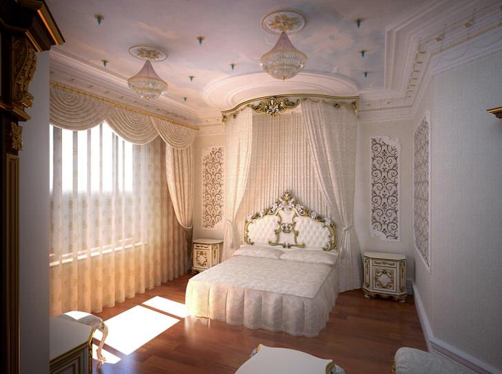 Современная спальня в стиле барокко.