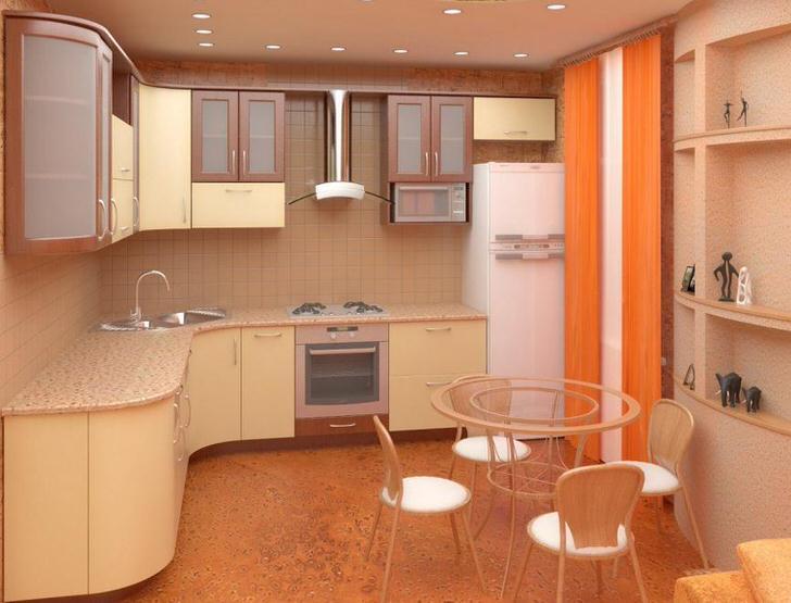Эргономичное размещение мебели на кухне 11 кв. метров. Всего достаточно в меру, габариты гарнитура соизмеримы с размерами помещения.