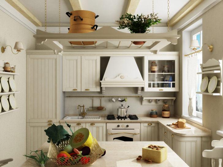 Кухня в стиле кантри малого метража. Интересными элементами стали полки с расставленными тарелками.