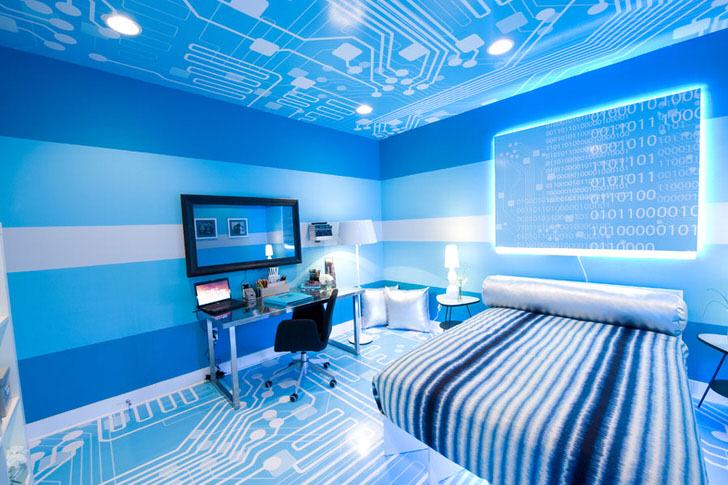 Креативное оформление пола и потолка определяет стиль хай-тек.