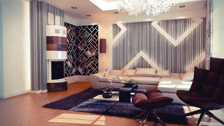 Просторная спальня с чертами авангардных форм в интерьере, мебели и портала биокамина