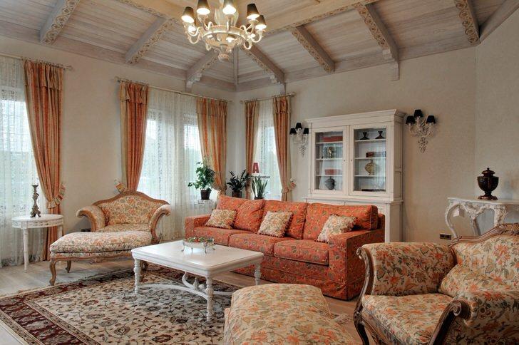 Милая гостиная в стиле прованс для истинной леди.