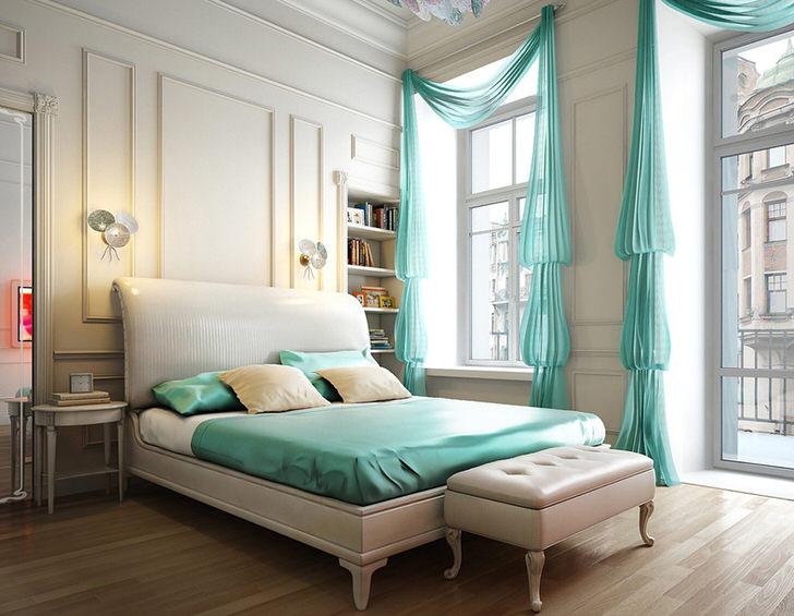 Стильные небольшие прикроватные светильники освещают спальню в стиле хай-тек.