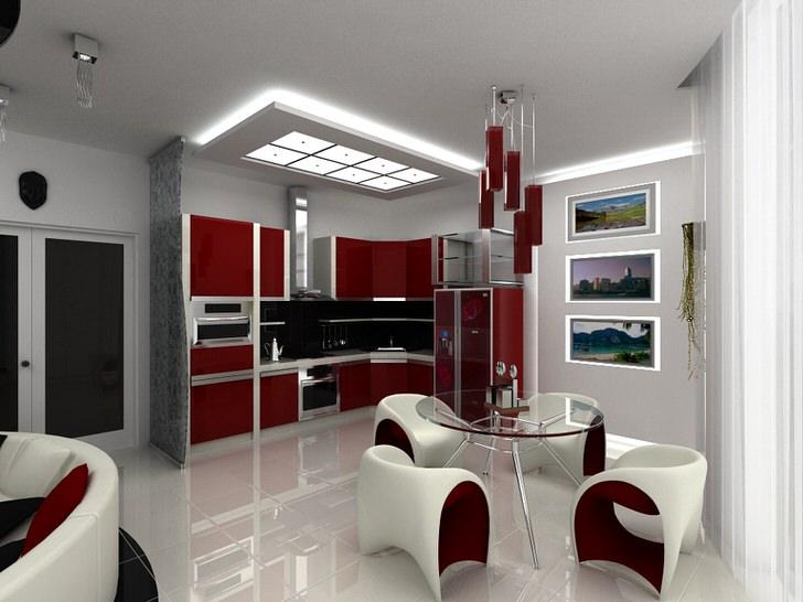 """Простое решение зонирования кухни и столовой зоны - насыщенный, """"спелый"""" красный цвет кухни и дизайнерских люстр."""