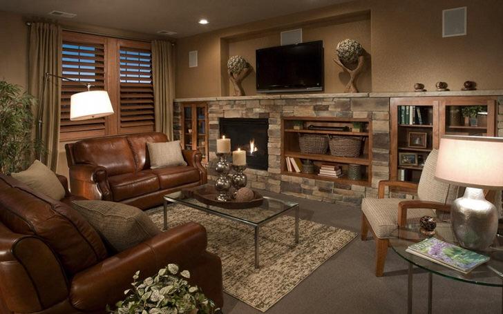 Уютная гостиная с элементами декора в стиле кантри.